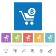 Checkout with Bitcoin cart flat white icons in square backgrounds. 6 bonus icons included. - Checkout with Bitcoin cart flat white icons in square backgrounds - Large thumbnail