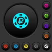 Ruble casino chip dark push buttons with vivid color icons on dark grey background - Ruble casino chip dark push buttons with color icons