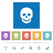 Human skull flat white icons in square backgrounds. 6 bonus icons included. - Human skull flat white icons in square backgrounds - Large thumbnail