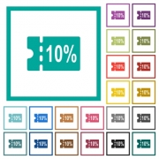 10 percent discount coupon flat color icons with quadrant frames on white background - 10 percent discount coupon flat color icons with quadrant frames