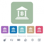 Bitcoin bank office white flat icons on color rounded square backgrounds. 6 bonus icons included - Bitcoin bank office flat icons on color rounded square backgrounds