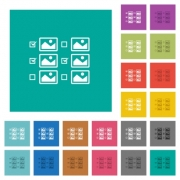 Multiple image selection with checkboxes multi colored flat icons on plain square backgrounds. Included white and darker icon variations for hover or active effects. - Multiple image selection with checkboxes square flat multi colored icons
