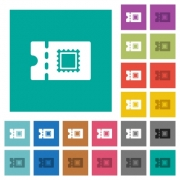 Postal discount coupon multi colored flat icons on plain square backgrounds. Included white and darker icon variations for hover or active effects. - Postal discount coupon square flat multi colored icons