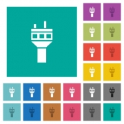 Air control tower multi colored flat icons on plain square backgrounds. Included white and darker icon variations for hover or active effects. - Air control tower square flat multi colored icons