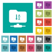 FTP sort ascending multi colored flat icons on plain square backgrounds. Included white and darker icon variations for hover or active effects. - FTP sort ascending square flat multi colored icons