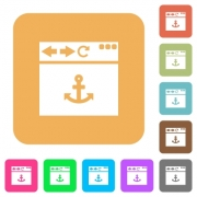 Browser anchor flat icons on rounded square vivid color backgrounds. - Browser anchor rounded square flat icons