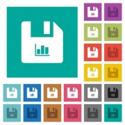 File statistics multi colored flat icons on plain square backgrounds. Included white and darker icon variations for hover or active effects. - File statistics square flat multi colored icons