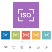 Camera iso speed setting flat white icons in square backgrounds. 6 bonus icons included. - Camera iso speed setting flat white icons in square backgrounds
