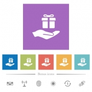 Gifting flat white icons in square backgrounds. 6 bonus icons included. - Gifting flat white icons in square backgrounds
