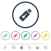 Hardware key flat color icons in round outlines. 6 bonus icons included.