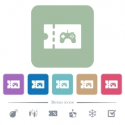 Toy store discount coupon white flat icons on color rounded square backgrounds. 6 bonus icons included - Toy store discount coupon flat icons on color rounded square backgrounds