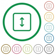 Adjust object height flat color icons in round outlines on white background - Adjust object height flat icons with outlines