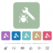 Bug fixing white flat icons on color rounded square backgrounds. 6 bonus icons included - Bug fixing flat icons on color rounded square backgrounds