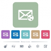 Share mail white flat icons on color rounded square backgrounds. 6 bonus icons included - Share mail flat icons on color rounded square backgrounds