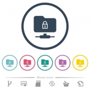 FTP lock flat color icons in round outlines. 6 bonus icons included. - FTP lock flat color icons in round outlines