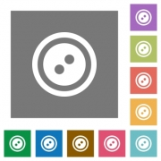 Dress button with 2 holes flat icons on simple color square backgrounds - Dress button with 2 holes square flat icons