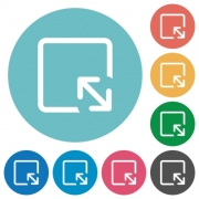 Resize object flat white icons on round color backgrounds - Resize object flat round icons