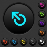 Media eject dark push buttons with vivid color icons on dark grey background - Media eject dark push buttons with color icons
