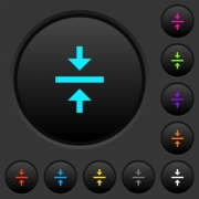 Vertical align center dark push buttons with vivid color icons on dark grey background - Vertical align center dark push buttons with color icons