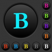 Bold font type dark push buttons with vivid color icons on dark grey background - Bold font type dark push buttons with color icons