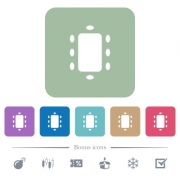 Meeting white flat icons on color rounded square backgrounds. 6 bonus icons included - Meeting flat icons on color rounded square backgrounds
