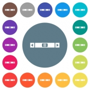 Horizontal scroll bar flat white icons on round color backgrounds. 17 background color variations are included. - Horizontal scroll bar flat white icons on round color backgrounds