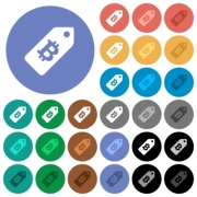 Bitcoin price label multi colored flat icons on round backgrounds. Included white, light and dark icon variations for hover and active status effects, and bonus shades. - Bitcoin price label round flat multi colored icons