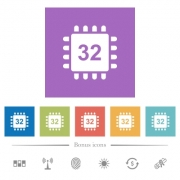 Microprocessor 32 bit architecture flat white icons in square backgrounds. 6 bonus icons included. - Microprocessor 32 bit architecture flat white icons in square backgrounds