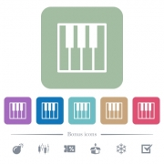 Piano keyboard white flat icons on color rounded square backgrounds. 6 bonus icons included - Piano keyboard flat icons on color rounded square backgrounds