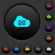 Cloud mail system dark push buttons with vivid color icons on dark grey background - Cloud mail system dark push buttons with color icons