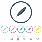 Single feather flat color icons in round outlines. 6 bonus icons included. - Single feather flat color icons in round outlines