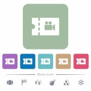 Movie discount coupon white flat icons on color rounded square backgrounds. 6 bonus icons included - Movie discount coupon flat icons on color rounded square backgrounds