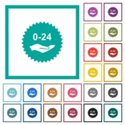 24 hours service sticker flat color icons with quadrant frames on white background