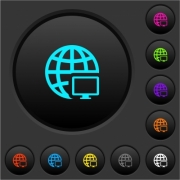 Remote terminal dark push buttons with vivid color icons on dark grey background - Remote terminal dark push buttons with color icons