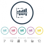 Network statistics flat color icons in round outlines. 6 bonus icons included. - Network statistics flat color icons in round outlines