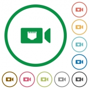 IP camera flat color icons in round outlines on white background - IP camera flat icons with outlines