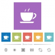 Cup of coffee flat white icons in square backgrounds. 6 bonus icons included. - Cup of coffee flat white icons in square backgrounds