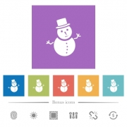 Snowman flat white icons in square backgrounds. 6 bonus icons included. - Snowman flat white icons in square backgrounds