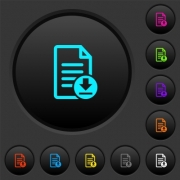 Download document dark push buttons with vivid color icons on dark grey background - Download document dark push buttons with color icons
