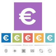 Euro sign flat white icons in square backgrounds. 6 bonus icons included.