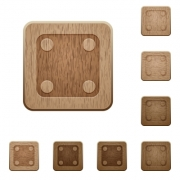 Domino four on rounded square carved wooden button styles - Domino four wooden buttons