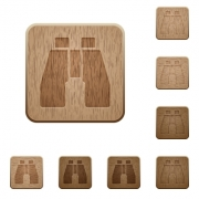 Binoculars on rounded square carved wooden button styles - Binoculars wooden buttons