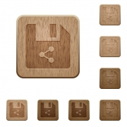 Share file on rounded square carved wooden button styles - Share file wooden buttons