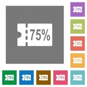 75 percent discount coupon flat icons on simple color square backgrounds
