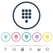 Dial pad flat color icons in round outlines. 6 bonus icons included. - Dial pad flat color icons in round outlines