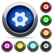 Single cogwheel icons in round glossy buttons with steel frames - Single cogwheel round glossy buttons