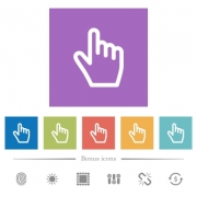 Hand cursor flat white icons in square backgrounds. 6 bonus icons included.