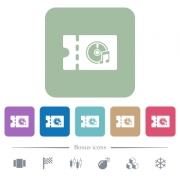 Music store discount coupon white flat icons on color rounded square backgrounds. 6 bonus icons included - Music store discount coupon flat icons on color rounded square backgrounds
