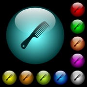 Comb with handle icons in color illuminated spherical glass buttons on black background. Can be used to black or dark templates - Comb with handle icons in color illuminated glass buttons