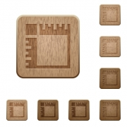 Canvas rulers on rounded square carved wooden button styles - Canvas rulers wooden buttons